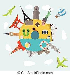 icônes, voyage, composition, célèbre, mondiale, repères