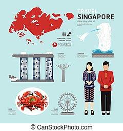 icônes, voyage, concept., singapour, vecteur, conception, plat