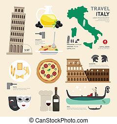icônes, voyage, italie, concept., vecteur, conception, plat