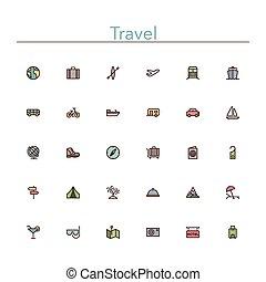 icônes voyage, ligne, coloré