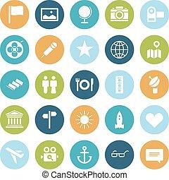 icônes, voyage, loisir, conception, plat