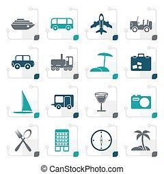 icônes, voyage, stylisé, vacances, tourisme, transport