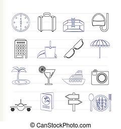 icônes, voyage, voyage, tourisme