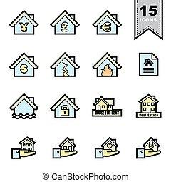 icônes, vrai, ensemble, ligne, propriété