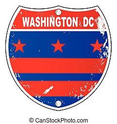 icônes, washington dc, signe, drapeau, état autre
