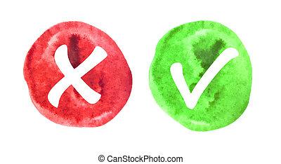 icônes, watermark, marque, vert, chèque, rouges