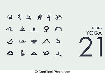 icônes, yoga, ensemble