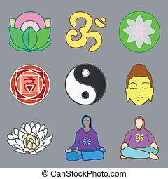 icônes, yoga