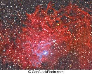 ic405, lidelsefull, stjärna, nebulosa