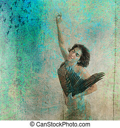 Icarus Exhalted - Woman with wing. Photo based illustration....