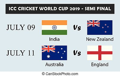 ICC Cricket world cup 2019- semi final. ICC Cricket world cup 2019-.semi final selected teams. India vs New Zealand and Australia vs England