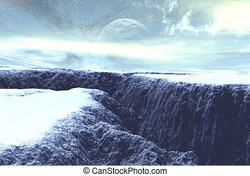 Ice Age - 3D render of a dark, frozen canyon.
