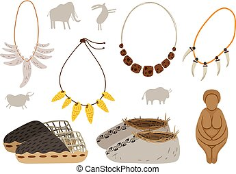 Ice age cartoon elements. Ancient man vector elements, rock paintings and snow shoe, necklaces of canines and amulets isolated on white background