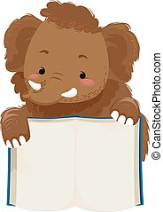 Cute Animal Illustration Featuring an Adorable Woolly Mammoth Holding the Pages of a Book Open