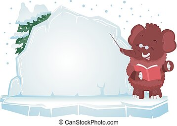 Ice Age Illustration Featuring a Woolly Mammoth Presenting the Lesson on a Large Block of Ice