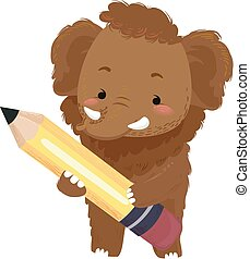 Ice Age Illustration Featuring an Adorable Woolly Mammoth Holding a Large Pencil