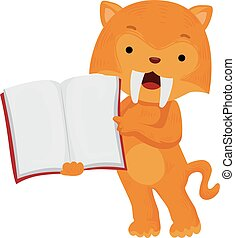 Ice Age Illustration Featuring a Cute Sabertooth Tiger Pointing to the Page of an Open Book