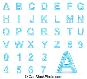Ice Alphabet With Numbers - 3d rendered image