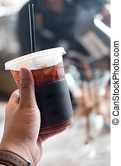 Ice Americano coffee in plastic cup