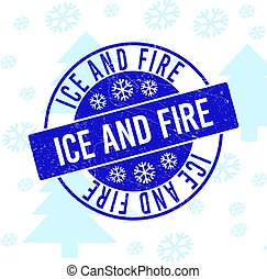 Ice and Fire Grunge Round Stamp Seal for Christmas