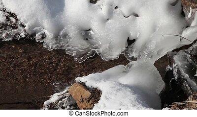Ice at river - closeup of ice at river