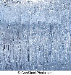 Ice background - Block of blue smooth melting ice, close-up
