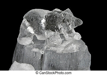 Ice bear - Carved small bear frozen sculpture in ice