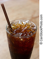 Ice black coffee - Delicious ice coffee americano on wood ...