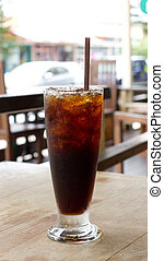 Ice black coffee - Delicious ice coffee americano on wood...