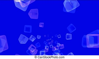 ice block,flying glass boxes