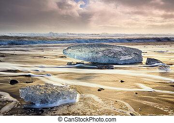 Ice blocks at Diamond beach in Iceland