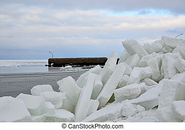 Ice blocks at pier