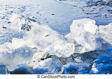 ice blocks on the edge of ice-hole in frozen lake