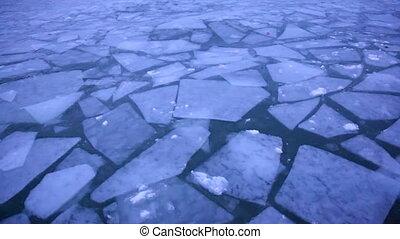 Ice blocks on the lake