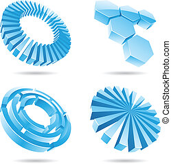 Ice blue abstract 3d icons in perspective template