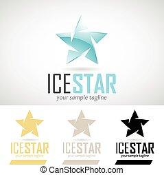 Ice Blue Star Shape Logo Icon