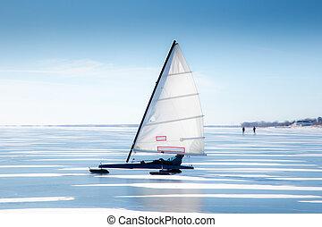 Ice Boat in Winter Description