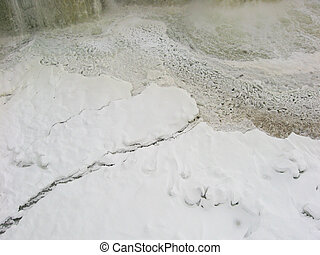 Ice breakup at base of waterfalls - Aerial view of ice ...