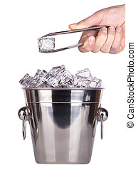 ice bucket with hand holding Ice tongs - ice bucket isolated...