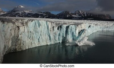 Ice Calving From The Tidewater Glacier