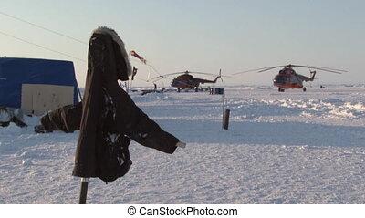 Ice Camp Barneo Arctic near the North Pole. Drift station on...