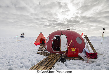 Ice camp of a polar research expedition