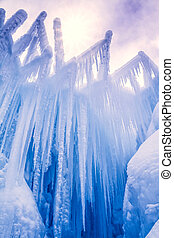 Ice Castles icicles and ice formations - Looking up at sky ...