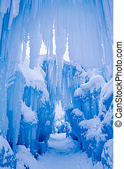 Ice Castles icicles and ice formations - Abstract ice and...