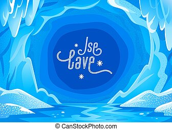 Ice cave landscape. Blue snowy winter background - Panoramic landscape with frozen icy cavern. Vector illustration in flat cartoon style.