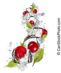 Ice cherries on white background - Ice cherries isolated on ...