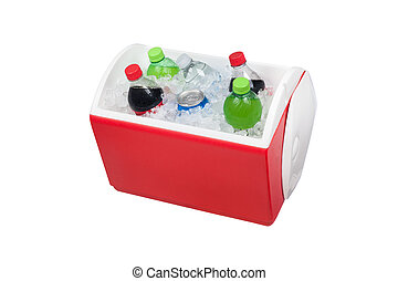 Ice chest and drinks - An isolated ice chest cooler filled ...