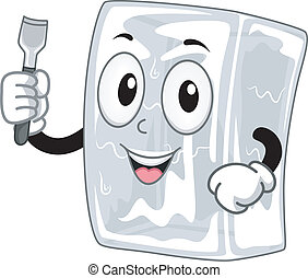 Ice Chisel Mascot - Mascot Illustration Featuring a Block of...
