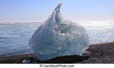 Ice chunk from the Jokulsarlon glacial lagoon - Chunk of ice...