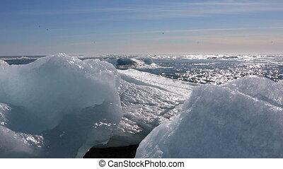 Ice chunks from the Jokulsarlon glacial lagoon - Chunks of...